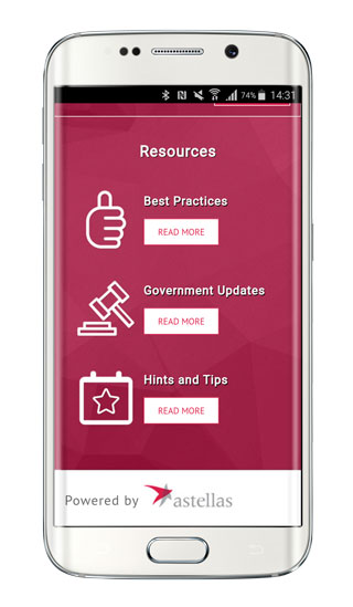 Astellas Change Together patient advocacy website smart phone